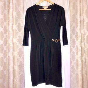 Michael Kors Dark Navy Faux Wrap Petite Dress